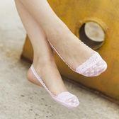 船襪女夏 襪子女純棉淺口夏季薄款前腳掌半截隱形襪高跟鞋蕾絲花邊吊帶船襪 芭蕾朵朵
