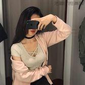 性感修身V領短袖T恤短款打底衫【洛麗的雜貨鋪】