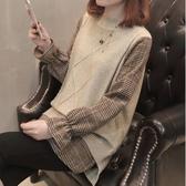 漂亮小媽咪 針織毛衣 【C8880】韓系 襯衫 拼接 假兩件 背心 針織 長袖 孕婦裝 針織上衣