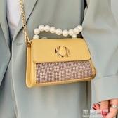 斜背包包包女新款時尚珍珠手提小方包洋氣斜背鏈條迷你包 交換禮物