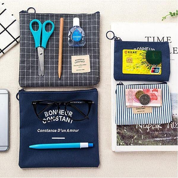 【BlueCat】BC鄉村風帆布零錢收納包(大號)