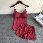 性感睡衣套裝女聚攏小胸夏季火辣成人冰絲綢帶胸墊吊帶睡褲兩件套  Cocoa