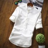棉麻襯衫 夏季七分中袖襯衫男士立領休閒半袖亞麻料
