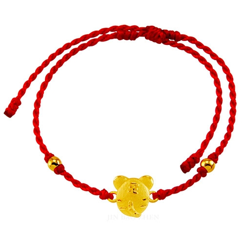甜蜜約定金飾-好運12生肖-虎-紅繩黃金手鍊