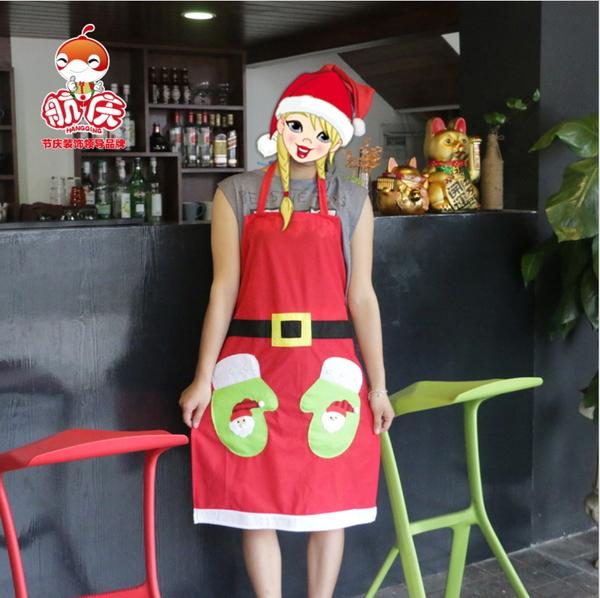 聖誕節裝飾用品 酒吧餐廳酒店服務員創意服裝圍裙 聖誕貼花圍裙─預購CH2568