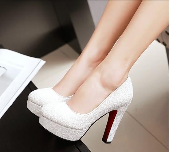 超高跟鞋女粗跟金色圓頭防水台:xuel0013