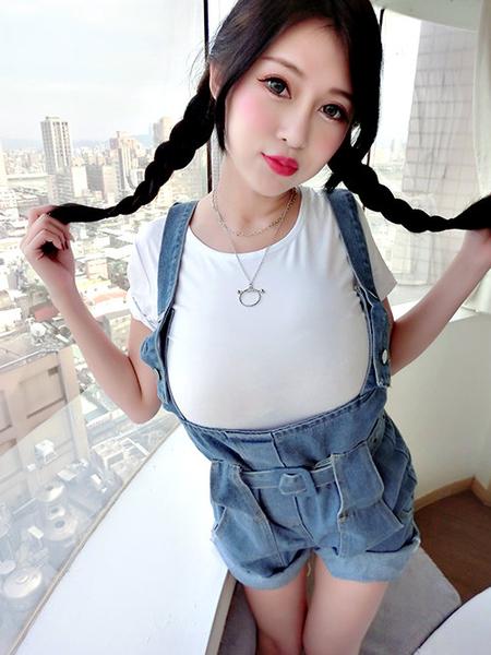 克妹Ke-Mei【AT58253】korea名媛小香風圓杯垂墜雙層長項鍊