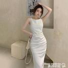 小禮服 吊帶連身裙女2021夏季新款法式氣質修身名媛禮服裙子包臀白色長裙 曼慕