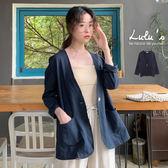 LULUS-E單釦口袋薄棉麻外套-深藍  【03060257】