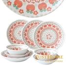 Just Home 日本製紅蘋果陶瓷餐盤8件組(淺缽+多用井+湯盤)