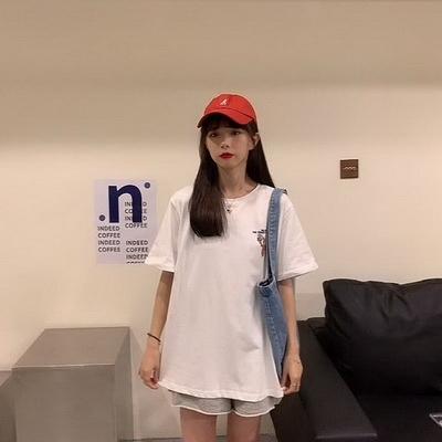 (下殺)彈性棉短袖t恤女中長版【08SG06454】