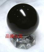 『晶鑽水晶』天然黑曜石球 44~45mm 又黑又亮*附底座!超值特惠中!
