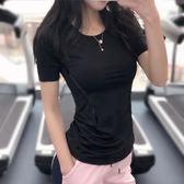 健身女孩 薄款運動短袖跑步訓練顯瘦半袖上衣透氣高彈性緊身T恤夏