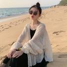 冰絲開衫 洋氣小衫夏季薄款一字肩蕾絲衫長袖防曬衣外搭開衫外套女 韓流時裳