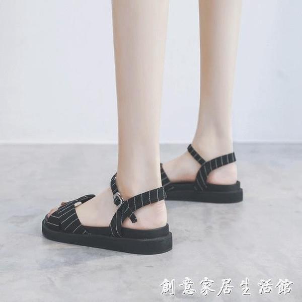 2020夏季新款網紅時裝一字扣平底涼鞋女仙女風松糕厚底羅馬鞋超火