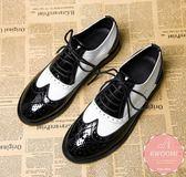 牛津鞋 經典英倫風黑白撞色馬甲綁帶 皮鞋 休閒鞋 短靴 紳士鞋*Kwoomi-A51