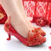 婚鞋 新娘金色蕾絲水鉆結婚喜鞋秀禾服喜慶紅色新娘鞋敬酒服鞋復古 BP1535【 雅居屋 】