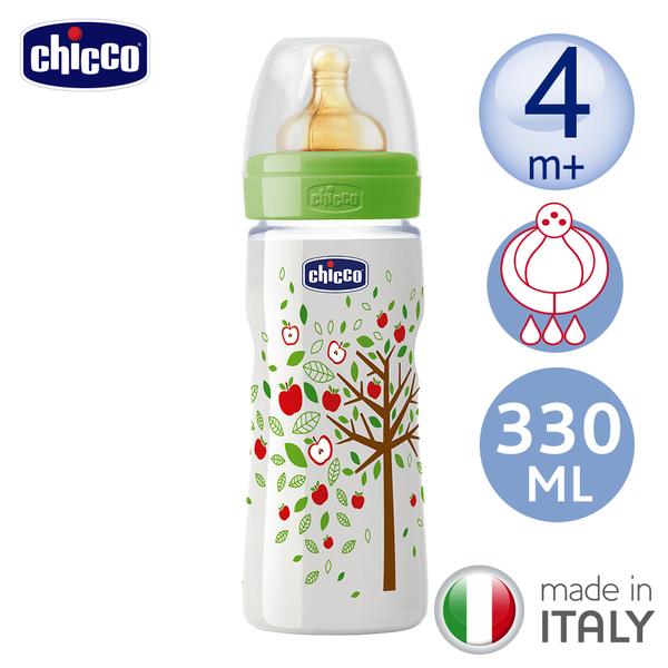 chicco-舒適哺乳-自然田園乳膠PP特大奶瓶330ML(三孔4m+)