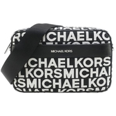【南紡購物中心】MICHAEL KORS KENLY織布滿版MK拉鍊斜背包-大/黑