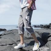 熱銷工裝褲短褲男夏季薄款7分褲休閒寬鬆運動五分沙灘中褲子潮流工裝七分褲