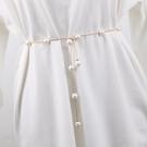 腰錬女士珍珠裝飾細腰帶簡約百搭配洋裝水鑚鑲嵌時尚小皮帶裙帶 樂活生活館