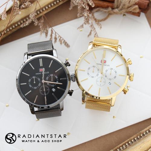 MINIFOCUS賽內加爾真三眼超大錶面日期顯示米蘭鍊帶手錶【WMF0023】璀璨之星☆