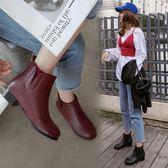 丁果、大尺碼女鞋34-46►歐美明星款方頭低跟切爾西靴短靴子*2色