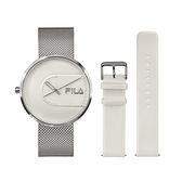 【FILA 斐樂】簡約設計腕錶錶帶套組-氣質銀x白/38-178-001-SET A/台灣總代理公司貨享兩年保固