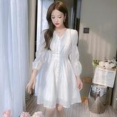 洋裝仙女裙甜美S-2XL新款法國小眾V領提花收腰顯瘦顯高白色連身裙T613-1070.胖胖唯依