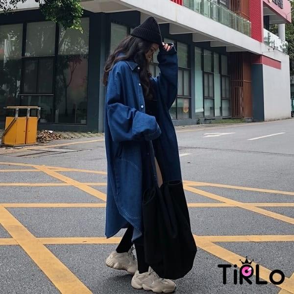 牛仔外套-Tirlo-燈籠寬袖牛仔長外套-兩色(現+追加預計5-7工作天出貨)