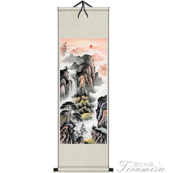掛畫 紫氣東來山水畫招財進寶聚寶盆絲綢畫卷軸掛畫杭州禮品國畫宣紙畫 快速出貨