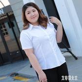 加肥加大超大碼白襯衫女胖mm寬鬆雪紡短袖襯衣夏200斤職業裝正裝 LJ4236【艾菲爾女王】
