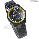 TIVOLINA 三眼多功能 亮色對比設計面盤 羅馬時刻 男錶 日期顯示窗 不銹鋼 黑色x黃 MAW3698KY