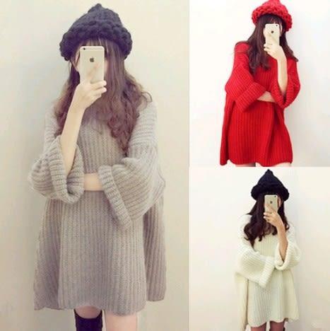 EASON SHOP(GU4366)粗針織圓領長袖毛衣女蝙蝠袖上衣服素色秋冬韓版寬鬆飛鼠袖粗毛線長版長款連身裙