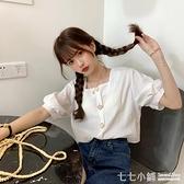 法式上衣~ 夏季2021年新款韓版寬鬆短袖襯衫女夏設計感方領法式襯衣紫色上衣