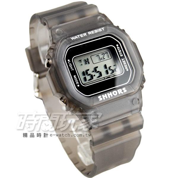 SHHORS 潮流時尚電子錶 雙顯示 運動錶 男錶 防水手錶 橡膠錶帶 夜光 冷光照明 SH-718灰