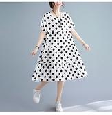棉麻洋裝連身裙~胖mm夏時尚大碼棉綢大擺 連衣裙中長款寬松顯瘦大擺裙5812#MB119B衣時尚