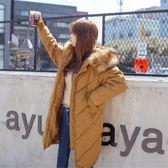 梨卡 - 韓國空運甜美超美大毛領情侶可穿加厚保暖禦寒仿羽絨鋪棉加大尺碼大衣風衣外套A424