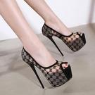 魚口鞋 16CM超高跟細跟高跟鞋魚嘴單鞋韓國公主夜店性感恨天高蕾絲女婚鞋
