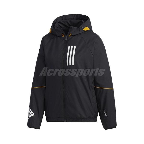 adidas 外套 W.N.D. Warm Jacket 黑 白 女款 風衣 訓練 運動休閒【ACS】 GF0191