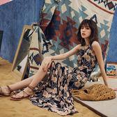 VK旗艦店 歐美風復古印花雪紡巴厘島度假沙灘裙仙女長裙無袖洋裝