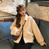 羊羔毛外套女冬新款韓版寬鬆加厚毛毛開衫皮毛一體女裝羊羔絨