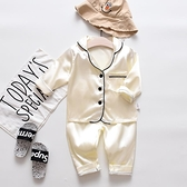 睡衣春夏寶寶睡衣冰絲套裝男寶薄款長袖1純色2歲3小童4小孩男女家居服