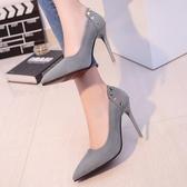 歐美10cm裸色尖頭高跟鞋女秋季細跟中跟淺口性感黑色絨面單鞋