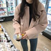 秋冬毛呢大衣女年新款韓版休閒百搭小個子洋氣Polo領呢子外套 雅楓居