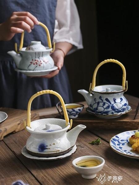 日式陶瓷海鮮湯壺小茶壺茶杯復古提梁壺日韓料理餐具單人餐廳 【快速出貨】