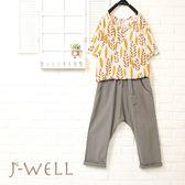 雙色葉子上衣飛鼠褲二件組(組合716 8J1418黃/藍+8J1404綠/灰藍)