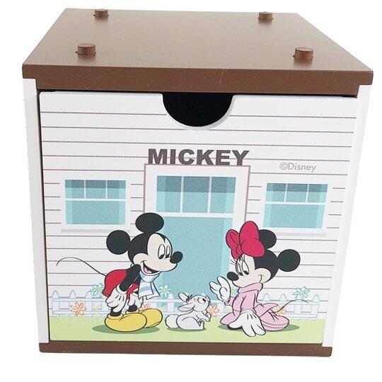小禮堂 迪士尼 米奇米妮 木質單抽收納盒 積木盒 文具盒 飾品盒 可堆疊 (棕) 4710374-19176