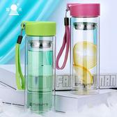 男女雙層便攜水杯帶蓋過濾耐熱透明學生隨手泡茶杯子【無趣工社】
