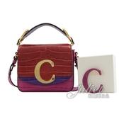 茱麗葉精品【全新現貨】CHLOE 新款 金屬C Mini鱷魚紋手提單肩方包.紅/紫